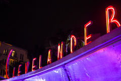 Clevelander Art Deco Neon Sign Stock Photos
