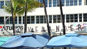 Clevelander Hotel umbrellas stock video footage