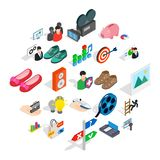 Clever Advertising Icons Set, Isometric Style Stock Image