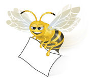 Clever Bee with Paper Stock Photos