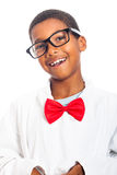 Clever boy. Portrait of happy clever school boy, isolated on white background royalty free stock photos