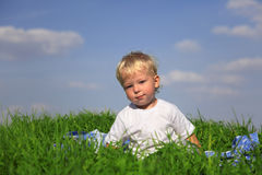 Clever boy outdoors Royalty Free Stock Photography