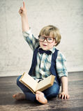 Clever boy reading a novel Royalty Free Stock Images