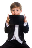 The clever boy and tablet, isolated Stock Photo
