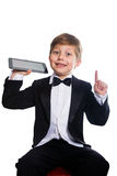 The clever boy and tablet, isolated Stock Photos