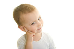 Clever boy thinking Royalty Free Stock Photos