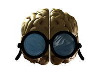 Clever Brain. Concept image of Brain wearing glasses to show its intelligence Stock Photography