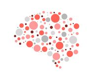 Silhouette of the brain vector circles, warm shades, pink red burgundy, clever brain consists of parts stock illustration