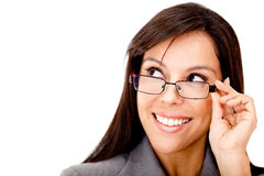 Clever business woman with glasses Royalty Free Stock Photo