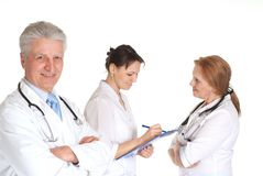 Clever doctors in a white coats royalty free stock photography