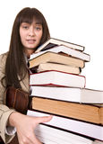 Clever girl with group  book. Stock Photo