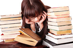 Clever girl with group book. Stock Photos