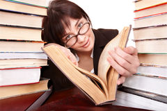 Clever girl with group book. Royalty Free Stock Photo