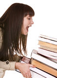 Clever girl with group old book. Stock Photo