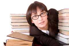 Clever girl with heap book. Stock Photo