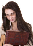 Clever girl with heap book. Stock Photos