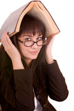 Clever girl with old book. Stock Photos