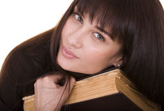 Clever girl with old book. Stock Image