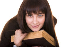 Clever girl with old book. Royalty Free Stock Images