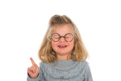 Clever girl. With round glasses Stock Photography