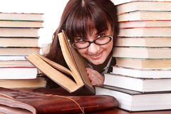 Clever girl in spectacles with group  book. Royalty Free Stock Photos