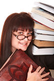 Clever girl in spectacles with group book. Stock Photos