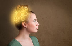 Clever girl thinking with a machine head illustration. Clever girl thinking with a glowing machine head illustration royalty free stock image