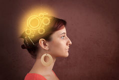 Clever girl thinking with a machine head illustration. Clever girl thinking with a glowing machine head illustration royalty free stock photos