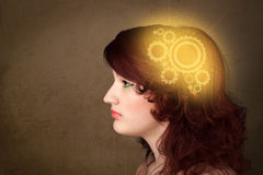 Clever girl thinking with a machine head illustration Royalty Free Stock Images