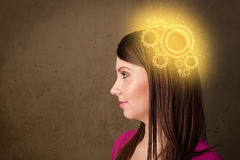 Clever girl thinking with a machine head illustration Royalty Free Stock Photography
