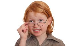 Clever girlirl wearing glasses Stock Photos