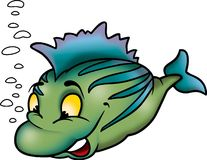 Clever green fish. Fish 05 - High detailed illustration - Clever green fish stock illustration