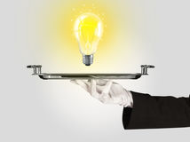 Clever idea concept with bulb on tray Royalty Free Stock Photos