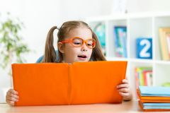 Clever kid little girl behind of open book indoor Royalty Free Stock Photography