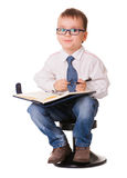Clever kid with organizer notebook Royalty Free Stock Photo