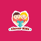 Clever Kids Abstract Vector Sign, Emblem or Logo Template. Boy and Girl Reading Book Illustration with Textures. Heart Stock Images