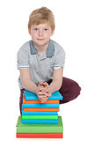 Clever little boy near books Royalty Free Stock Photography