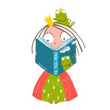 Clever Little Princess Reading Fairy Tale with. Colorful fun childish hand drawn illustration for smart kids fairy tale Stock Images