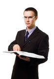 Clever man with huge book in glasses Stock Photography