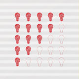 Clever meter. Stylized hand draw light bulbs. Five stars, light bulbs. Vector format, editable and sizable. Corporate identity - creative, fresh, modern design Stock Photography