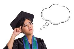 Clever mind of female student, with cloud of thought cartoon drawing, isolated on white background vector illustration