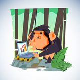 Clever monkey with computer. character design - vector Royalty Free Stock Photo