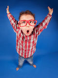 Clever nerdy boy. Active funny five years old boy with expressive face, jumping, playing concept Stock Photo