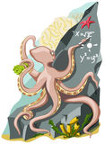 The clever octopus writes formulas. The octopus writes chalk on the rock of formula Stock Photo