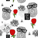 Clever owls seamless pattern on white background. Royalty Free Stock Photos