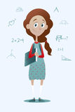 Clever pry schoolgirl with book. Vector illustration of a clever pry schoolgirl with book Stock Photo