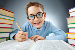 Clever schoolkid. Portrait of cute lad in eyeglasses making notes in book during reading Royalty Free Stock Image