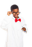 Clever scientist boy. Cute happy clever scientist school boy, isolated on white background Royalty Free Stock Photos