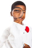 Clever scientist child exploring Stock Image