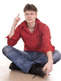 Clever serious man think about one's future . Stock Photos